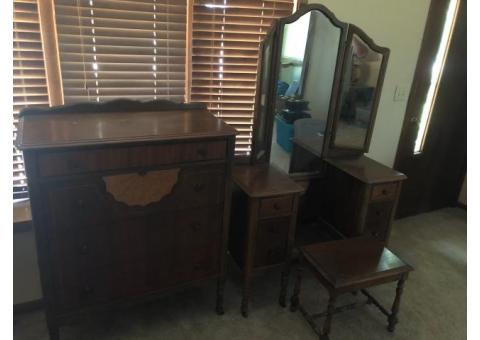 Vintage Dresser  and Vanity and Stool